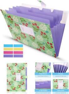 New Accordion Folder With 8 Lables floral Printed Accordion Document File Skydue