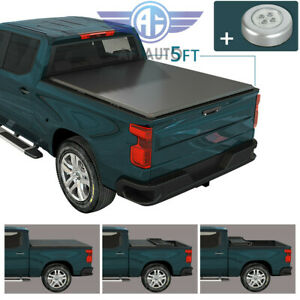 Soft Tri Fold Tonneau Cover W Light For 2005 2019 Nissan Frontier 5ft Short Bed