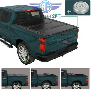 Hard Tri Fold Tonneau Cover W Light For 2016 2020 Toyota Tacoma 6ft Truck Bed