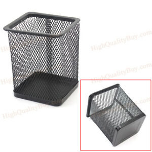 Black Pen Square Holder Mesh Pencil Cup Container Organizer Office Storage Rrty
