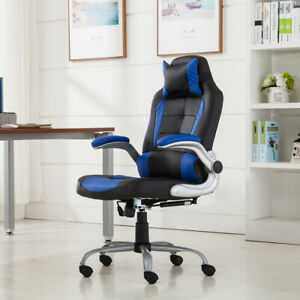 Executive Racing Gaming Chair High Back Reclining Pu Leather Chair Blue black