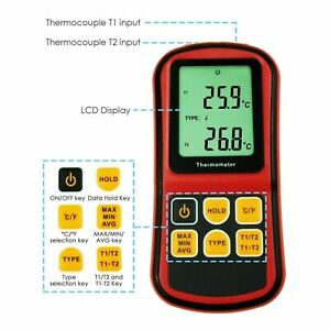 Durable Dual Channel K j t e r s n Type Atc Thermocouple Thermometer Tester