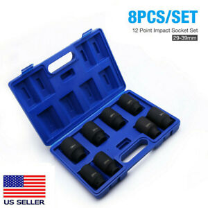 8 X 1 2 Dr Front Back Wheel Drive 12 Point Deep Spindle Axle Nut Socket Set