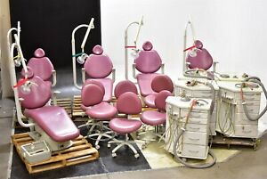 Sds Lot Of 5 Dental Chairs 5 Lights 5 Delivery Carts 6 Doctor Stools