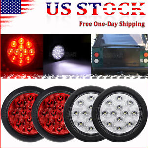 2 Red 2 White Led 4 Round Truck Trailer Reverse Stop Brake Tail Lights