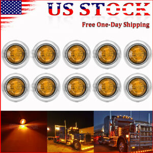10x 3 4 Round Amber Led Side Marker Light With Stailness Base For Truck Trailer