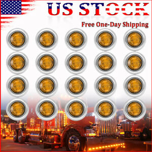 20x 3 4 Round Amber Truck Trailer Bullet Led Marker Lights W Stailness Base