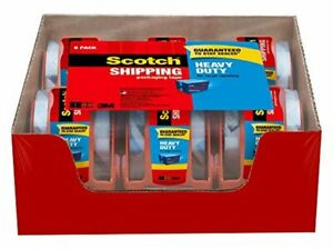 3m Scotch Clear Shipping Packing Tape 1 88x800 6 Rolls W dispenser Heavy Duty