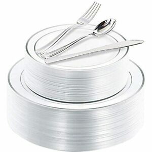 200 Pieces Silver Disposable Plates With Plastic Silverware Premium Heavyweight
