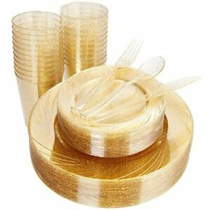 150pcs Gold Plastic Plates With Disposable Silverware ampgold Cups Glitter 25