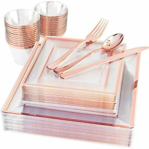 150 Pieces Rose Gold Square Plastic Plates With Silverware And Cups Disposable