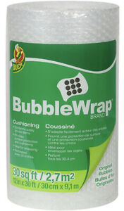 Duck Brand Bubble Wrap Original Protective Packaging 12 Inches Wide 30feet Clear
