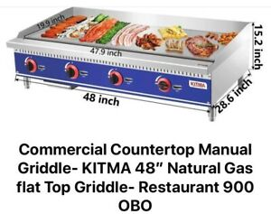 Commercial Countertop Manual Griddle Kitma 48 Inch Natural Gas Flat Top Griddl