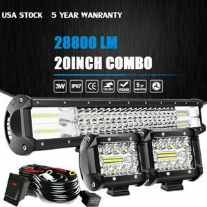 20 22inch Led Light Bar Spot Flood Combo 2x 4 Pods Wiring For Jeep Truck Suv