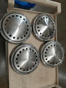 Four Chrysler Plymouth Dodge Police Oem Hubcaps 9 Dog Dish Poverty Mopar B Body