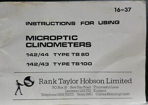 Instructions Copy Only Of The Hilger Watts 142 43 Tb100 Microptic Clinometer