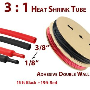 Heat Shrink Tubing Kit 3 1 Dual Wall Tube Adhesive Lined Marine Grade Black red