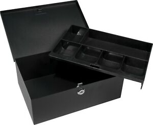 Barska Cash Box Safe W 6 Compartment Removable Tray And Key Lock Cb11792