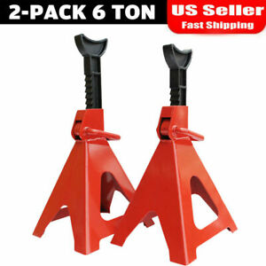 6 Tons Jack Stands Pair Axle Floor Truck Car Lift Set Heavy Duty Adjustable Qg