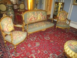 Antique Louis Xvi 3 Pc French Salon Parlor Set Sofa 2 Chairs Scenic Tapestry