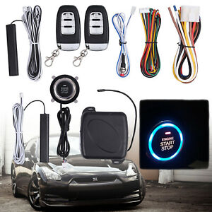 Car Keyless Entry Engine Start Alarm System Push Button Remote Starter Stop Kit