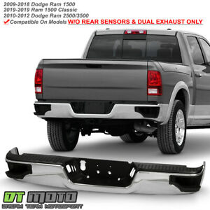 2009 2018 Dodge Ram 1500 Chrome Conrer Step Style Complete Rear Bumper Assembly