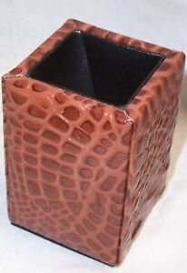 Leather Croc Embossed Desk Pencil Pen Cup New