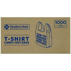 1000 Ct T Shirt Bags Plastic Grocery Shopping Carry Out Thank You 12lbs Kitchen