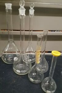 6 Pc Vtg Kimax Lab Glassware Chemistry Boiling Flasks Lot 50 100 250 500 Ml