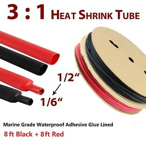 Marine Grade Black red Heat Shrink Tubing Adhesive Glue 3 1 Wire Connection 1 2