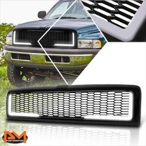 For 94 02 Dodge Ram Honeycomb Mesh Abs Plastic Front Bumper Hood Grill W Led Drl