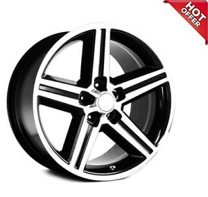 4ea 22x8 5 Iroc Wheels Black Machined 5 Lugs Rims S43