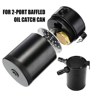Oil Catch Can Tank 2 Port Baffled Reservoir With Drain Valve Breather Universal