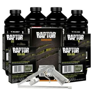 U Pol 821vg Voc 4865 Olive Green 4l Raptor Spray On Truck Bed Liner Kit W Gun