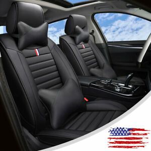 Black Leather Car Seat Covers Full Surround Cushion Universal Interior Parts Set