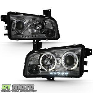 Smoke 2006 2010 Dodge Charger Dual Halo Projector Led Headlights Lamp Left Right