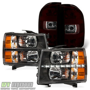 2007 2013 Chevy Silverado Led Headlights Black Tinted Tail Lights Lamps 7 13