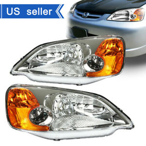 Fits 2001 2003 Honda Civic Ex Lx Chrome Headlights Replacement Lamps Left right