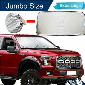 Extra Large Foldable Jumbo Sun Shade Truck Van Car Windshield Visor Block Cover