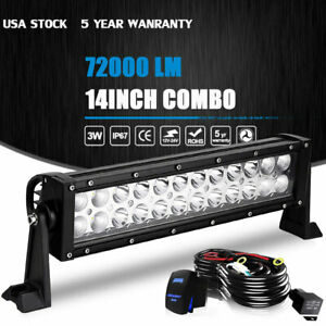 14 Inch 72w Led Light Bar Combo Offroad Driving Lamp 4wd Work Atv Ute 13 5 15