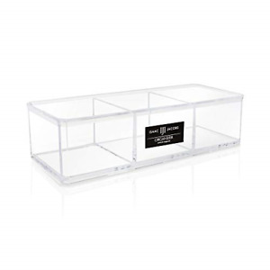 Isaac Jacobs Clear Acrylic 3 Section Organizer Three Compartment Drawer Tray
