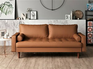 Us Pride Office Furniture Mid century Gabler Loveseat In Faux Leather Camel New