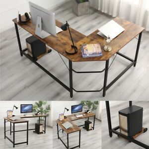Wooden Computer Desk L shaped Gaming Office Racing Writing Pc Table Workstation