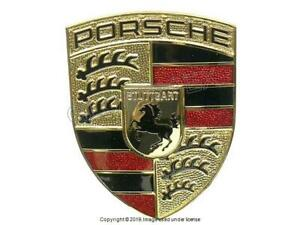 Porsche Cayenne 2008 2010 Hood Emblem With Mounting Base Plate Genuine