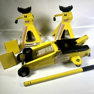 Rally 2 Ton Hydraulic Floor Jack Car Auto Jack Stands Set Yellow Black Lot