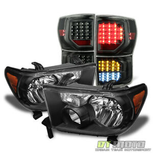 For 2007 2013 Toyota Tundra Black Headlights full Led Tail Lights Brake Lamps