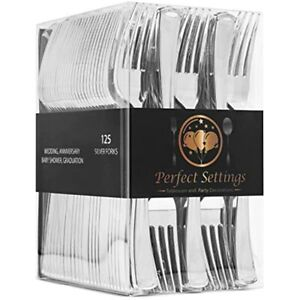 Perfect Settings 125 Plastic Forks Cutlery Polished Disposable Silverware Duty