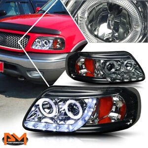 For 97 03 Ford F150 Halo Ring Led Drl Projector Headlight lamp Amber Side Smoked