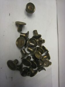 Lot Of 25 Vintage Solid Antique Brass Cabinet Knobs W Screws 5 8 Dia X 3 4h