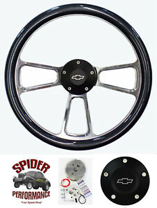70 73 Suburban Blazer Chevy Pickup Steering Wheel Bowtie 14 Carbon Black Button